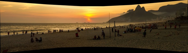 Panorama of Ipanema at sunset