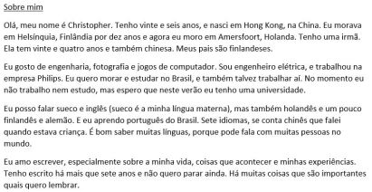 The very first thing I ever wrote about myself in Portuguese!
