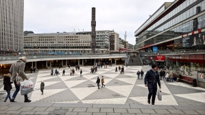 "The famous Sergels Torg (Sergel's Square) in central Stockholm. It's in the form of a ""sunken plaza""."