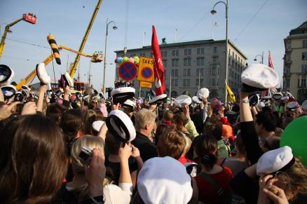 Walpurgis celebration in Helsinki, Finland. Tradition includes putting a student cap on the statue, Havis Amanda, on Esplanadi.